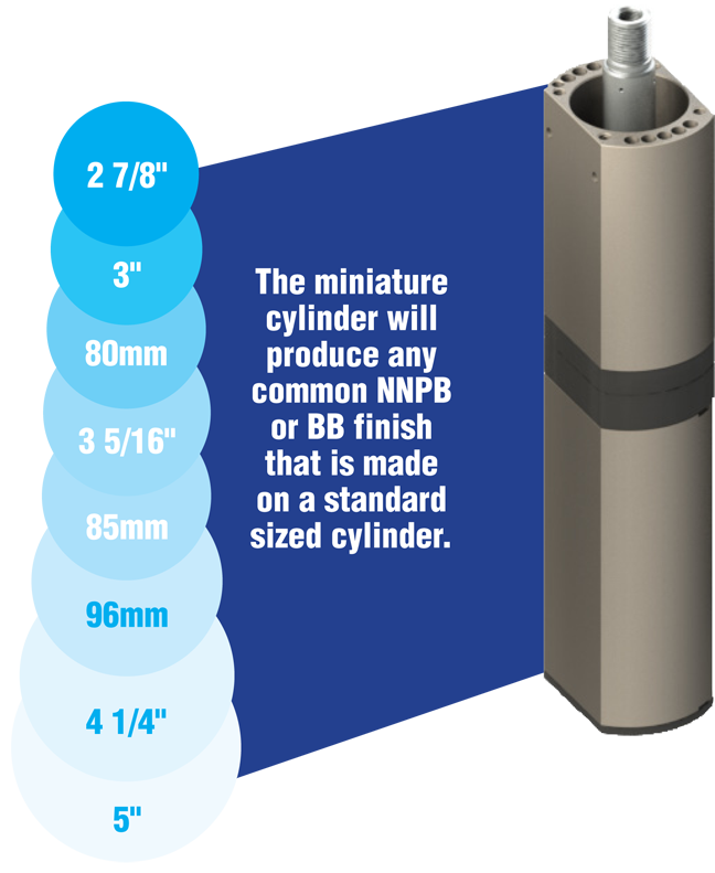 The miniature cylinder will produce any common NNPB or BB finish that is made on a standard sized cylinder.